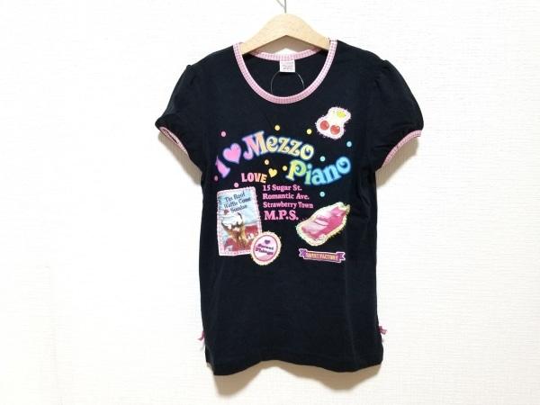 メゾピアノ 半袖Tシャツ サイズL レディース美品  黒×マルチ チェック柄/刺繍/リボン