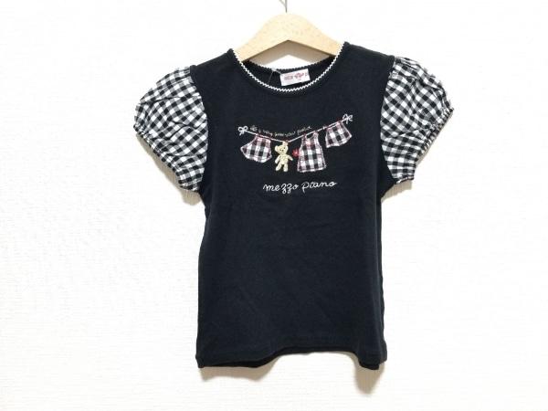 メゾピアノ 半袖Tシャツ サイズ130 レディース美品  黒×白×マルチ チェック柄/刺繍