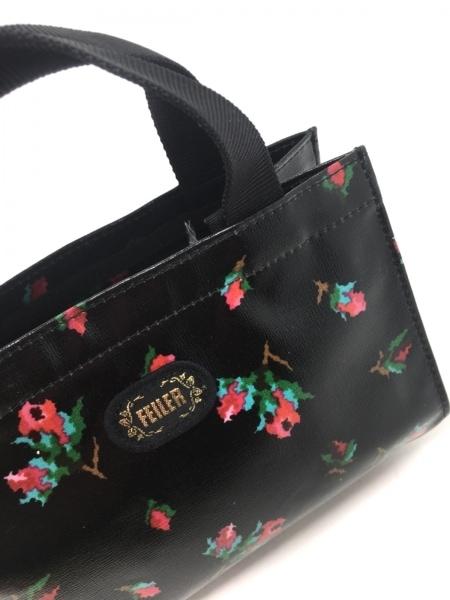 フェイラー トートバッグ美品  黒×レッド×グリーン 花柄/ミニサイズ 化学繊維