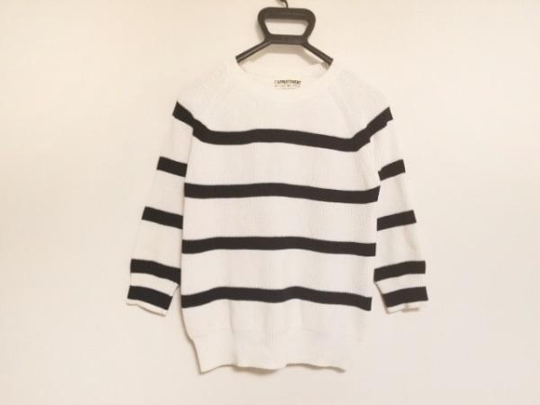 L'Appartement(アパルトモン) 七分袖セーター レディース 白×黒 ボーダー