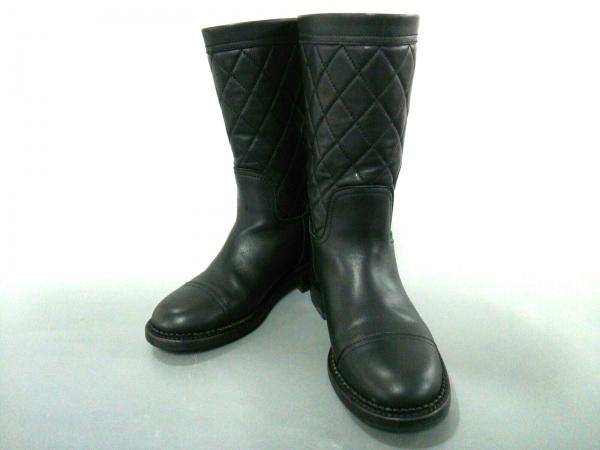 CHANEL(シャネル) ブーツ 34 レディース美品  マトラッセ 黒 キルティング レザー
