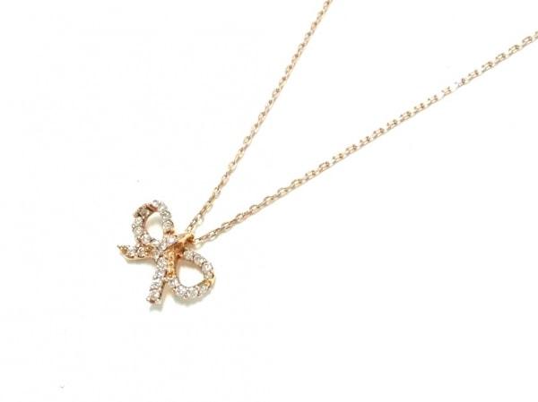 スタージュエリー ネックレス美品  K18YG×ダイヤモンド リボン/0.08カラット