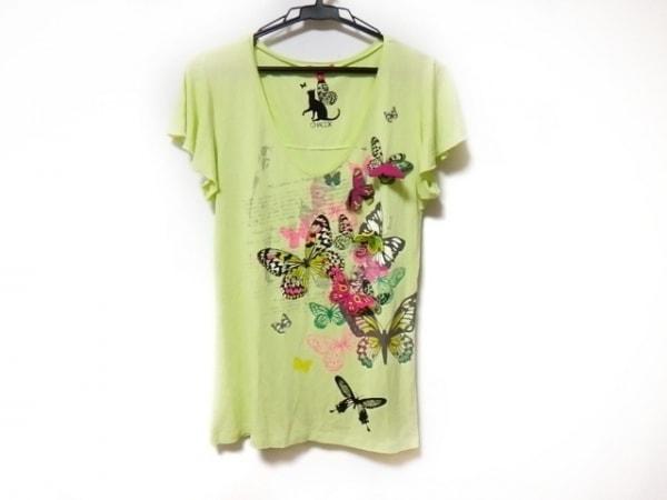 シャコック ノースリーブTシャツ サイズL レディース美品  グリーン×マルチ 蝶
