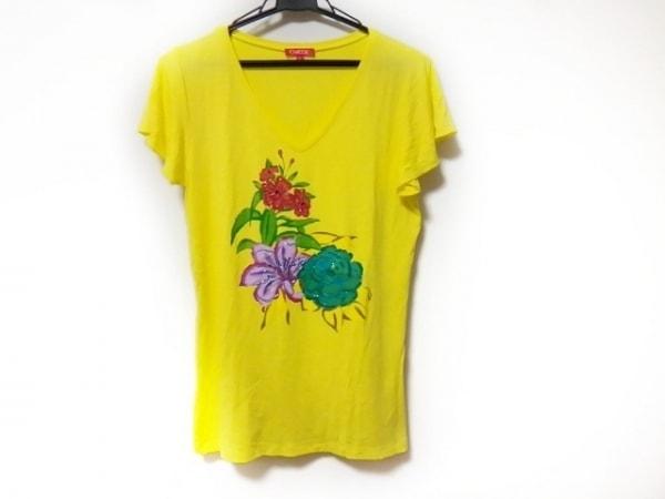 シャコック ノースリーブTシャツ サイズL レディース美品  イエロー×マルチ ビーズ