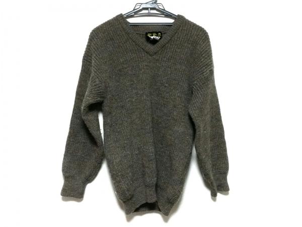 Barbour(バーブァー) 長袖セーター サイズ38 M メンズ ダークブラウン×グレー