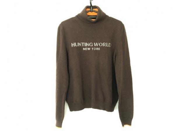 ハンティングワールド 長袖セーター サイズ40 M レディース ダークブラウン×オレンジ