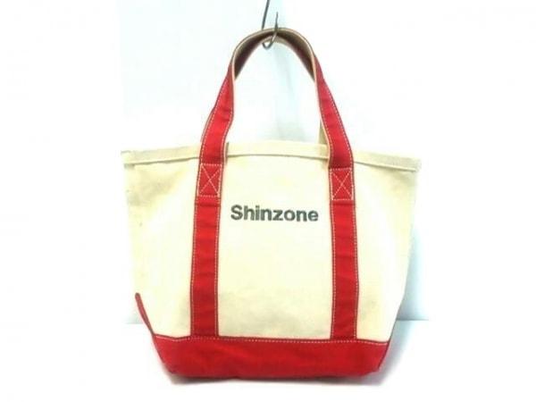 Shinzone(シンゾーン) トートバッグ アイボリー×レッド×グレー 刺繍 キャンバス