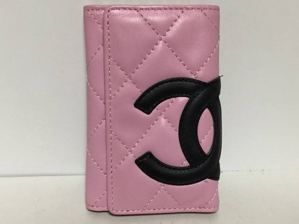 CHANEL(シャネル) キーケース カンボンライン ピンク×黒 6連フック ラムスキン