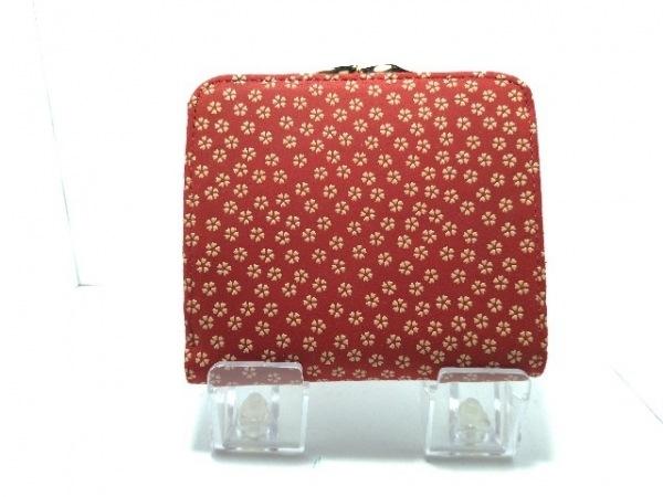 印傳屋(インデンヤ) 2つ折り財布美品  レッド×ベージュ がま口 レザー×漆