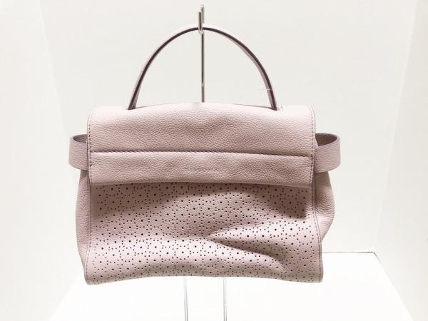 DISSONA(ディソーナ) ハンドバッグ美品  ピンク×レッド パンチング加工 レザー