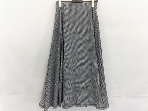 インゲボルグ ロングスカート サイズL レディース美品  白×黒 チェック柄/フリル