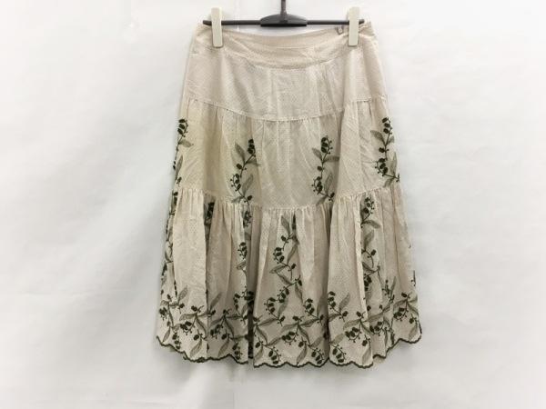 INGEBORG(インゲボルグ) スカート サイズ13 L レディース美品  ベージュ×カーキ