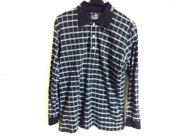 ジャンフランコフェレ 長袖ポロシャツ サイズ50 M メンズ美品  黒×白