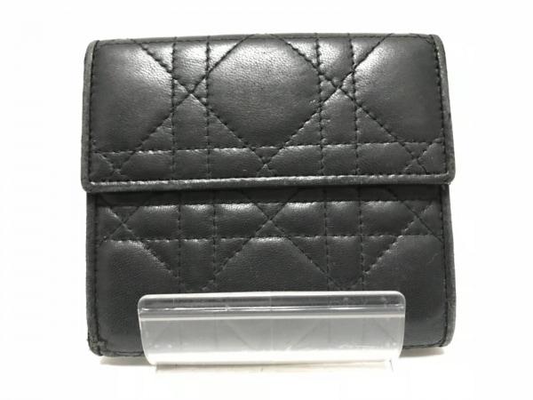 ChristianDior(クリスチャンディオール) Wホック財布 カナージュステッチ 黒 レザー
