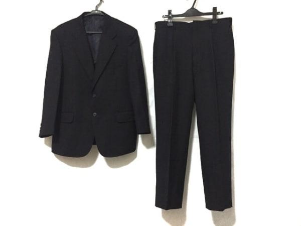 ドーメル シングルスーツ サイズAB4 メンズ美品  黒 ストライプ/イニシャル刻印
