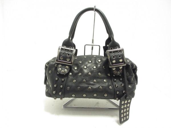 BE&D(ビー&ディー) ハンドバッグ美品  黒×シルバー スタッズ レザー×金属素材