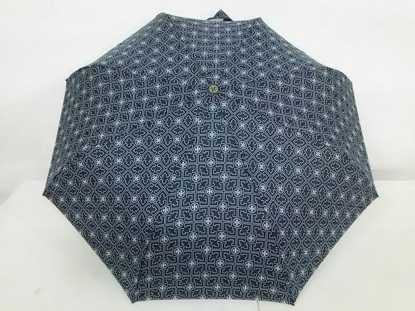 トリーバーチ 折りたたみ傘美品  黒×白×ゴールド ジャンプ傘 ポリエステル