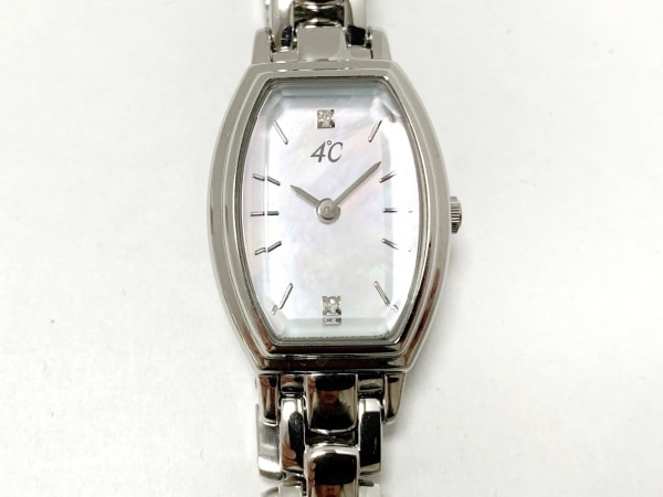 ヨンドシー 腕時計美品  B023-S138073 レディース シェル文字盤/ラインストーン 白