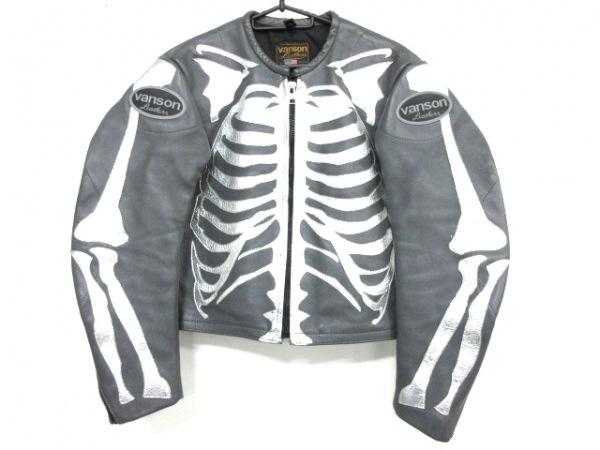 VANSON(バンソン) ライダースジャケット サイズ38 M メンズ美品  グレー×シルバー