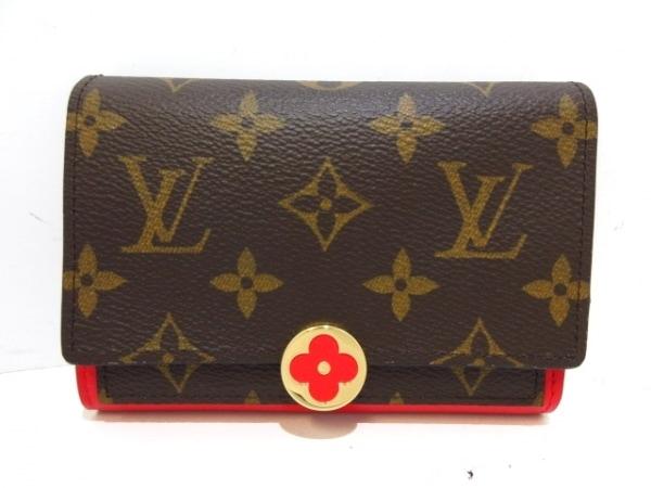 ルイヴィトン 2つ折り財布 モノグラム美品  ポルトフォイユ・フロール コンパクト