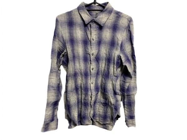 カズユキクマガイ 長袖シャツ サイズ2 M メンズ グレー×パープル チェック柄