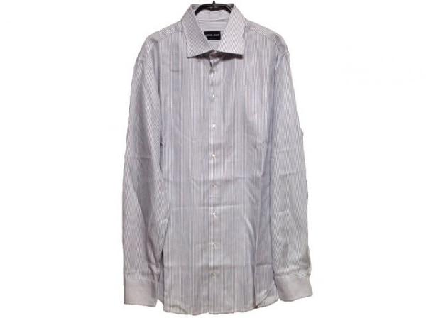 ジョルジオアルマーニ 長袖シャツ サイズ41 メンズ美品  白×ダークネイビー