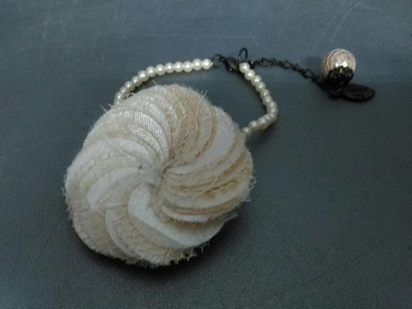 レネレイド ブレスレット美品  化学繊維×フェイクパール×金属素材 白×黒 フラワー