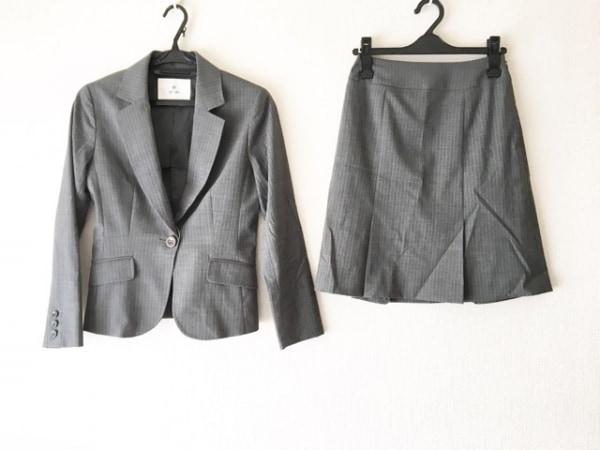 エフデ スカートスーツ サイズ7 S レディース美品  ダークグレー×ライトグレー