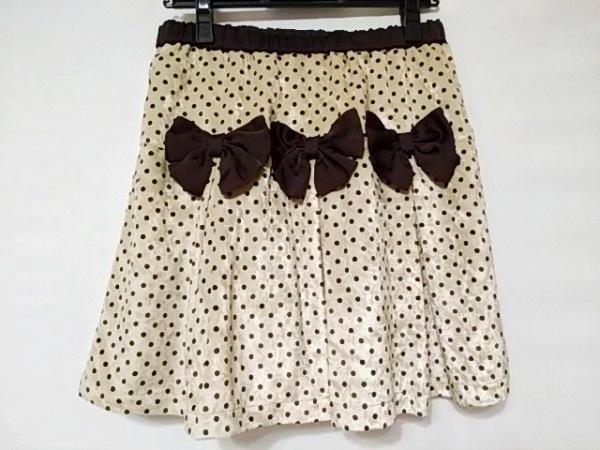 エミリーテンプルキュート スカート レディース美品  ベージュ×ダークブラウン