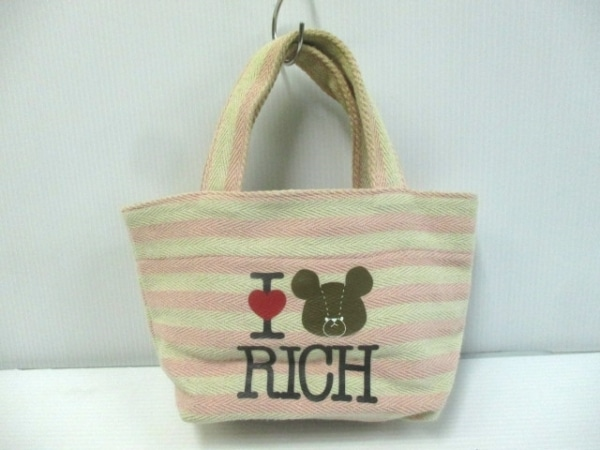 rich(リッチ) トートバッグ アイボリー×ピンク ボーダー キャンバス
