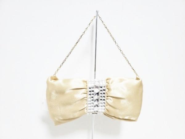 Cachellie(カシェリエ) ハンドバッグ美品  ベージュ×クリア リボン/ビジュー