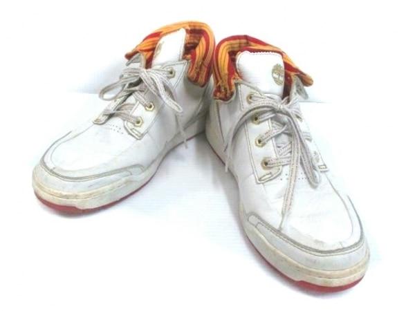 ティンバーランド スニーカー 9 メンズ 白×オレンジ×レッド ハイカット レザー