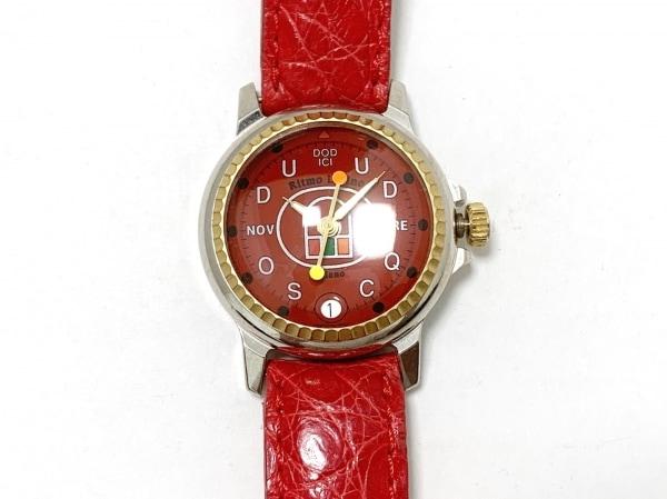 Ritmo Latino(リトモラティーノ) 腕時計 - レディース 革ベルト/型押し加工 レッド