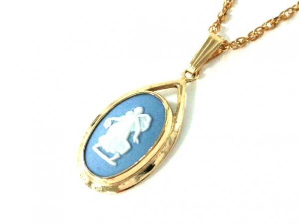ウェッジウッド ネックレス ジャスパー 金属素材×陶器 ゴールド×ライトブルー×白
