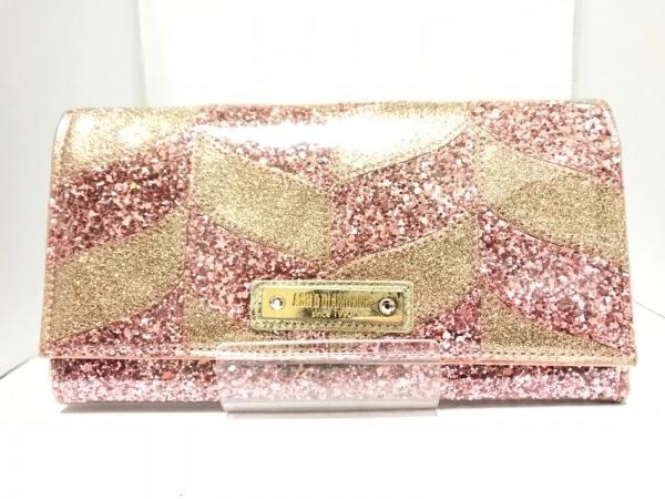 ASH&DIAMONDS(アッシュ&ダイヤモンド) 長財布 ピンク×ゴールド ビニール×グリッター
