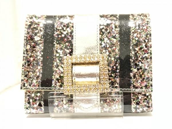 アッシュ&ダイヤモンド 2つ折り財布 シルバー×黒×マルチ ラインストーン