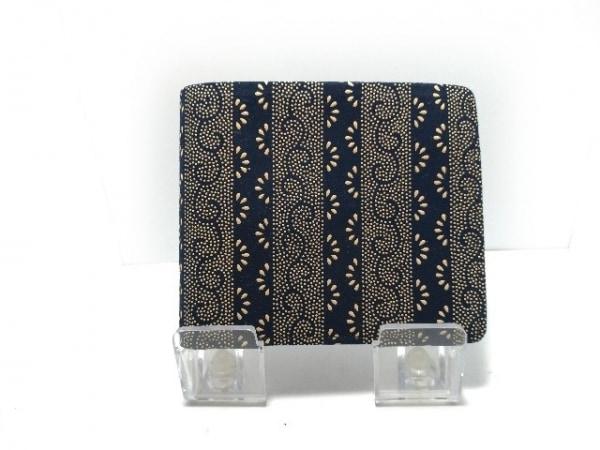 印傳屋(インデンヤ) 2つ折り財布 ダークネイビー×ベージュ スエード×漆