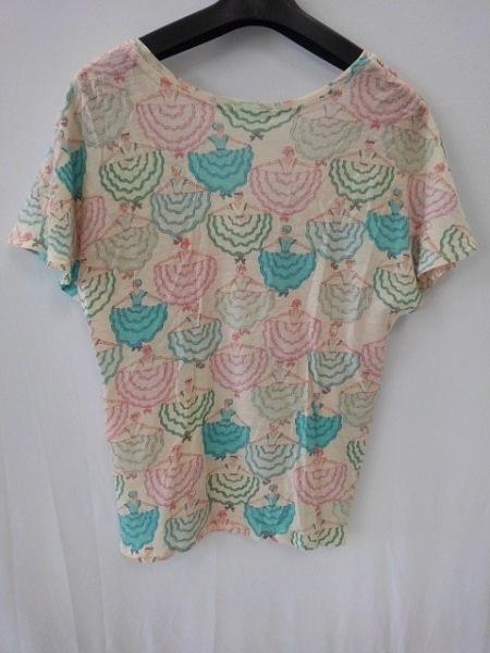 ツモリチサト 半袖Tシャツ サイズ2 M レディース アイボリー×ライトブルー×マルチ
