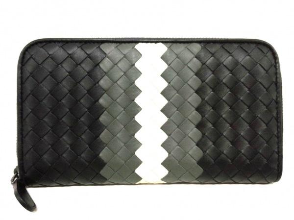 ボッテガヴェネタ 長財布新品同様  イントレチャート B05918819T 黒×グレー×白