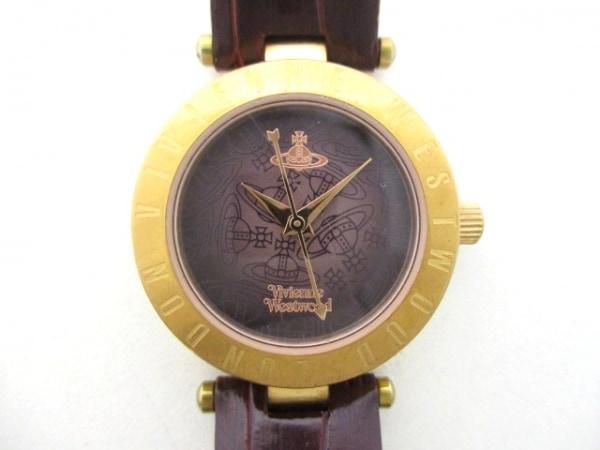 ヴィヴィアン 腕時計 VV092BRBR レディース 革ベルト/型押し加工 ダークブラウン