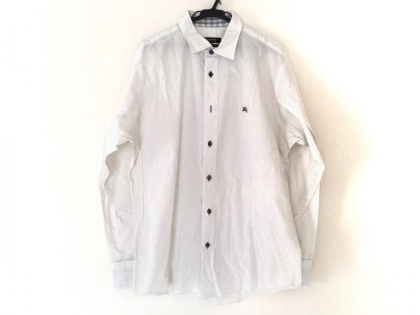 バーバリーブラックレーベル 長袖シャツ サイズ3 L メンズ美品  白×ライトグレー