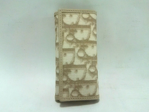 クリスチャンディオール キーケース ロゴグラム アイボリー×ベージュ 4連フック