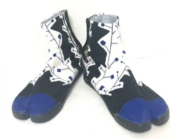 SOU・SOU(ソウソウ) シューズ 24 レディース 黒×白×ブルー 足袋 キャンバス