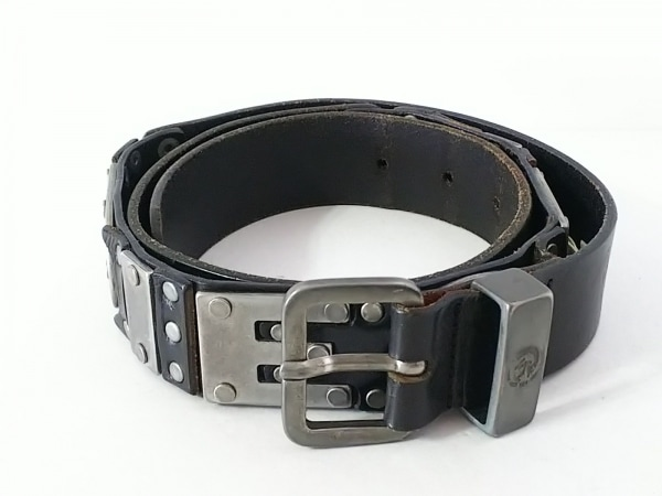 DIESEL(ディーゼル) ベルト 90/36 黒×シルバー レザー×金属素材