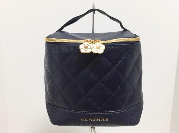 CLATHAS(クレイサス) バニティバッグ美品  ダークネイビー キルティング 合皮