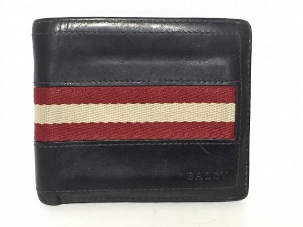 31d822e7a1b7 BALLY(バリー) 2つ折り財布 ダークブラウン×レッド×アイボリー レザー×コットン