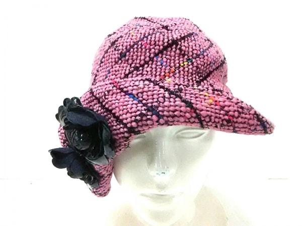 misaharada(ミサハラダ) 帽子美品  ピンク×黒×マルチ ウール×化学繊維