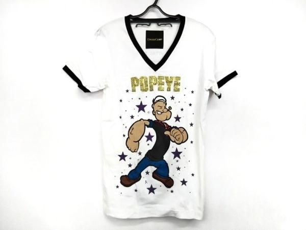 DRESS CAMP(ドレスキャンプ) 半袖Tシャツ サイズ46 XL レディース 白×黒×マルチ
