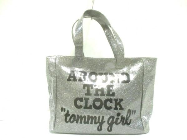 tommy girl(トミーガール) トートバッグ シルバー×黒 ラメ ビニール