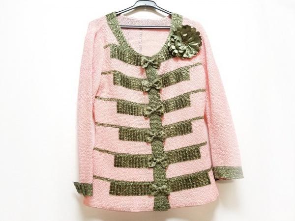 NOKO OHNO(ノコオーノ) カーディガン サイズ38 M レディース美品  ピンク×グリーン